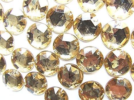 100 piedras preciosas de acrílico de oro pálido de 10 mm, superficie facetada redonda, parte trasera plana, para coser