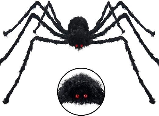 HALLOWEEN PARTY GLITTERD SPIDER HANGING GARLAND ORANGE BLACK 200CM PROP DÉCOR