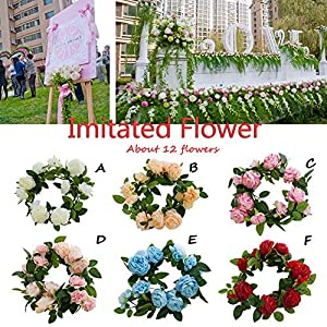 Artificial Rose Flower Garland Party Flower Wreath Western Peony Buds Core Vine Rose Wedding Decor Soft Silk Flower for Birthday Wedding Party Christmas Xmas Shopping Mall Decorations 119