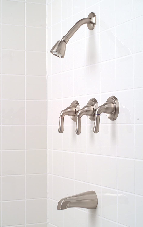 Premier 120187 Sanibel Three-Handle Tub & Shower Faucet, Brushed ...