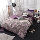 Duvet Cover Sets Flowers And Brushed Cotton Four Sets Of Flowers, Mirror Flower Edge-Coffee, King