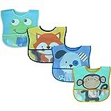 Lovespun Baby Bibs 4 Pack - Waterproof Burp Cloth One Size, Animal Prints