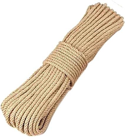 MZTD 50M 6MM Cuerda de Yute Cuerda Cáñamo Natural Gruesa Cuerda de Sisal 4 Capas para Jardín Boda Sash Camping Mascotas Barcos Hogar Animales Escalada ...