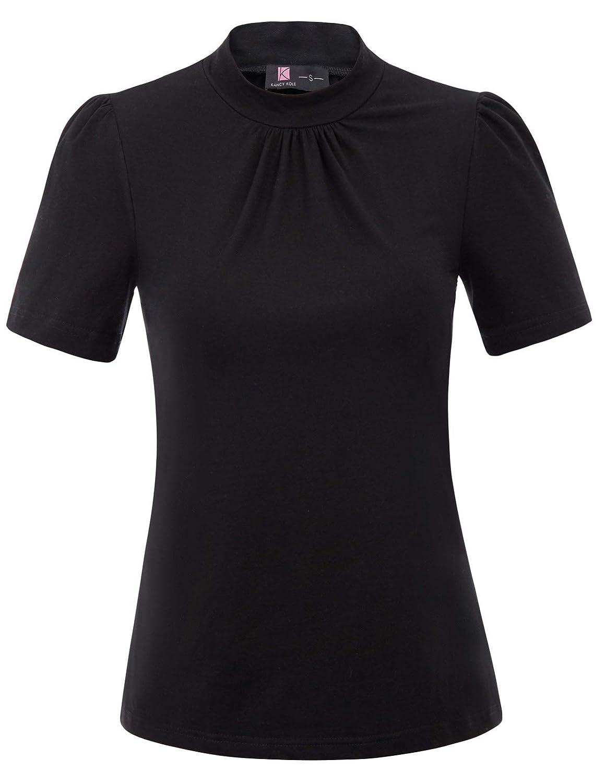 af1b9fe2c7 Kancy Kole Women's Mock Neck Short Sleeve Slim Fit Cotton Tee ...