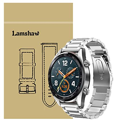 for Huawei Watch GT Band, Lamshaw Stainless Steel Metal Replacement Straps for Huawei Watch GT Smartwatch (Silver)