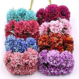 love enjoy Marigold 6pcs/Bunch 3.5cm Mini Daisy Flower Bouquet Artificial Flower Wedding Decoration DIY Craft Home Decoration Accessories 105