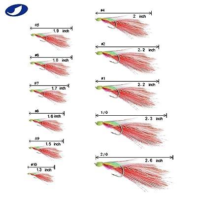 6 Hooks//set Sabiki Red Feather Fishskin String Hook Fishing Lure Rig Bait Tackle