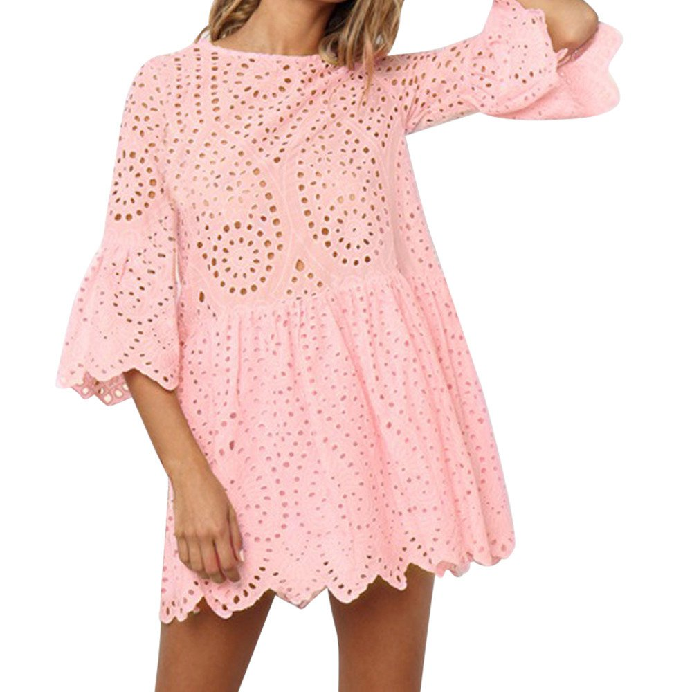 Nmch Women's Flowers Lace Flare Sleeve Mini Dress Hollow Out Round Neck Casual Dress Party Dresses 2019 (Pink,XL)