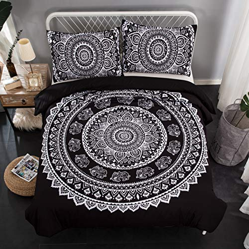 Bohemian Duvet Cover King Black Mandala Elephant Pattern Printed Duvet Cover with Zipper Closure 2 Pillowcases Soft Microfiber Bedding (King Size, 3Pcs)