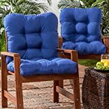 Greendale Home Fashions Indoor/Outdoor Seat/Back Chair Cushions, Marine Blue, Set of 2