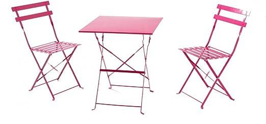 El Méline-Juego de mesa y sillas de jardín metal plegable 2 personas-set de mesa y sillas para balcón: Amazon.es: Jardín