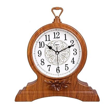 WEIJUN SHOP Retro Vintage Mantel/European Yellow Wood Arabic Digital Reloj de Cuarzo silencioso Reloj