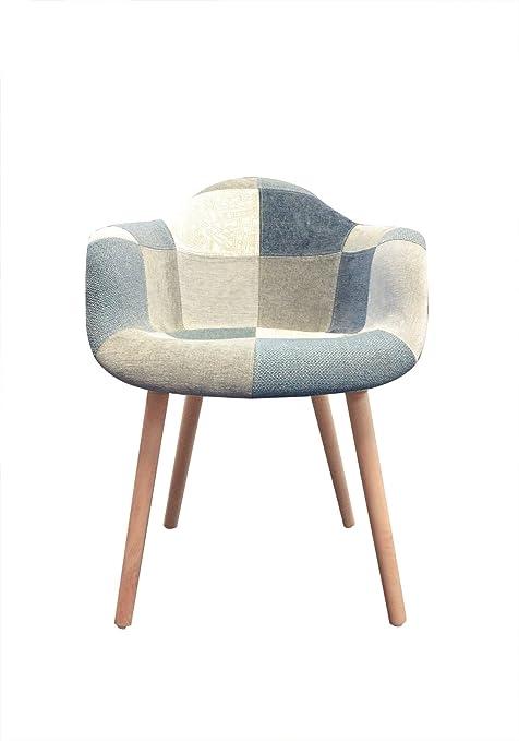 Meubletmoi Fauteuil Tissu Patchwork Bleu Beige Gris Chaise Design Scandinave Pieds Bois Confortable Et Robuste Azur