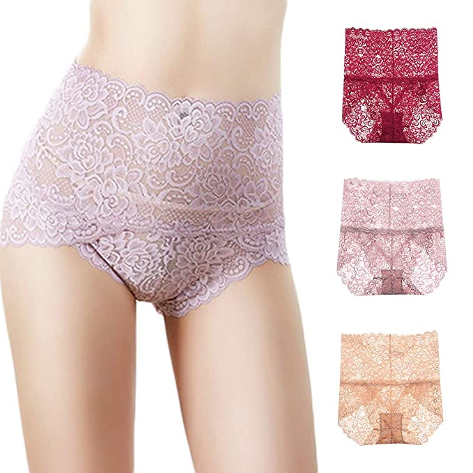 4a1eb27de7d Exlura Women s Sexy Lace Underwear Tummy Control Boy Shorts Full Coverage  Brief Panties (Pack of