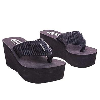 05215b3d6ec4 SODA Oxley-S Flip-Flop Sandals Wedge Heels Platform Black