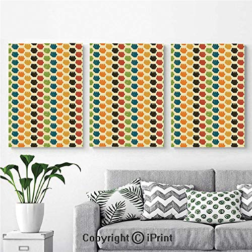 Modern Gallery Wrapped Canvas Print Retro Styled Colorful