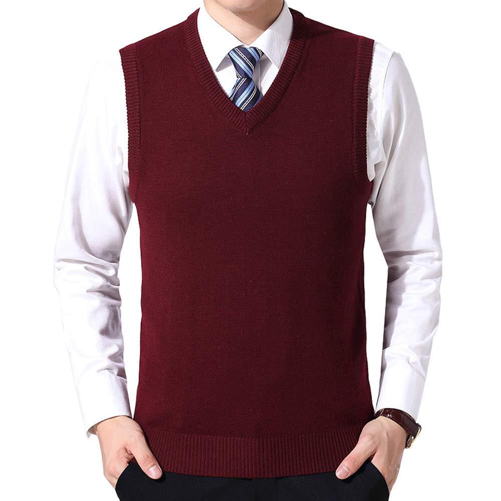 LINGMIN Men's V-Neck Pullover Sleeveless Vest Plain Knitted Slim Fit Sweater Vests M_0920Vests01