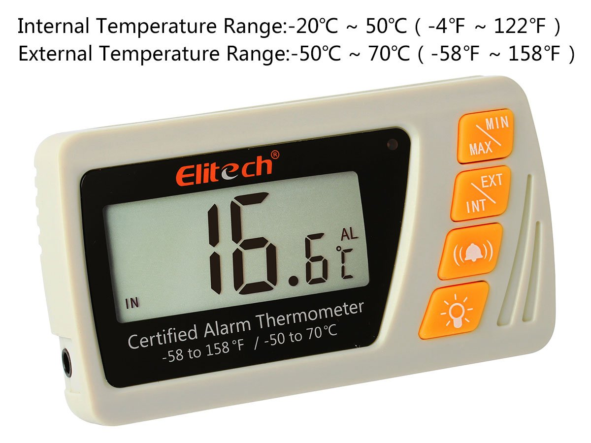 Elitech VT-10 Vaccine Thermometer With High Precision Thermometer And Hygrometer Medical Freezer Pharmacy Thermometer