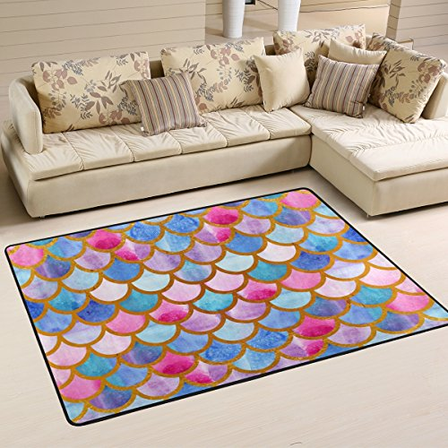 Naanle Colorful Rainbow Area Rug 2'x3', Watercolor Mermaid Scales Polyester Area Rug Mat for Living Dining Dorm Room Bedroom Home Decorative