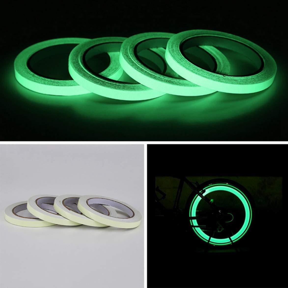 Reflector Cinta Adhesiva de Advertencia de Seguridad para Llantas de Bicicleta asfdasdf Impeccable visi/ón Nocturna 3 m Brilla en la Oscuridad