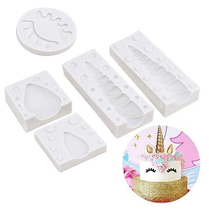 EU-Pretty seller Juego de moldes de Silicona para decoración de Tartas de Unicornio con