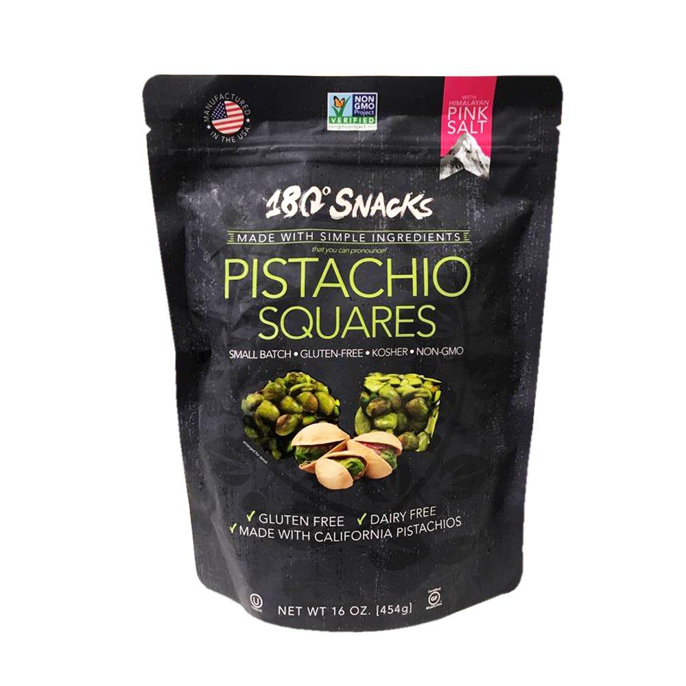180 Snacks Gluten Free Pistachio Squares with Himalayan Pink Salt 16oz  (Single)