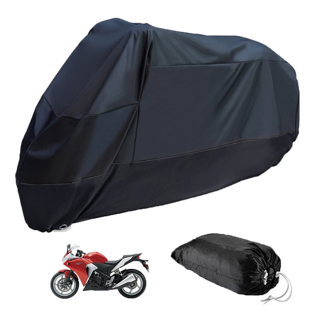 Estelatop Waterproof Motorcycle Cover, All Weather Outdoor Protection, Durable & Tear Proof for 96 Inch Motorcycles Like Honda, Yamaha, Suzuki, Harley and More (190T Black)