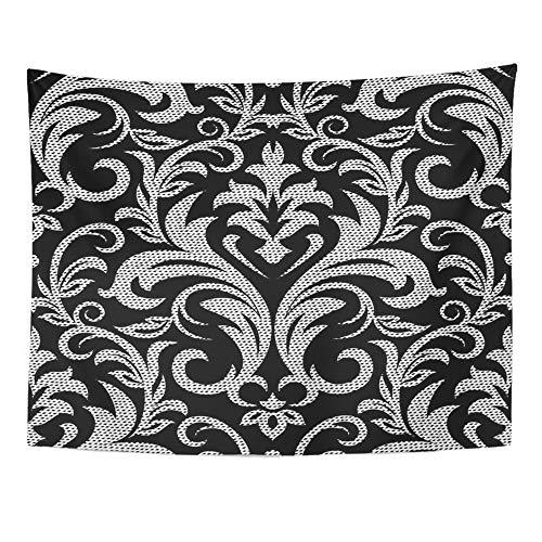 Emvency Tapestry Mandala 60x80 inch Home Decor Dot Damask Abstract Antique Arabesque Arabian Arabic Baroque Black for Bedroom Living Room Dorm by Emvency