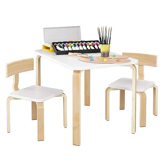 Homfa- Conjunto de Mesa y 2 sillas de Mesa Infantil de Madera ...