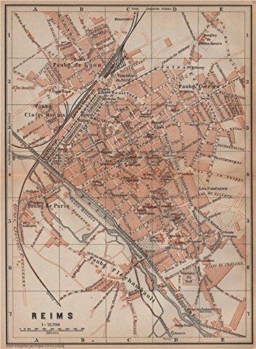 Amazon.com: REIMS antique town city plan de la ville. Marne carte ...