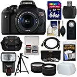 Canon EOS Rebel T6i Wi-Fi Digital SLR Camera & EF-S 18-55mm is STM Lens 64GB Card + Case + 3 Filters + Tripod + Flash + Tele/Wide Lens Kit