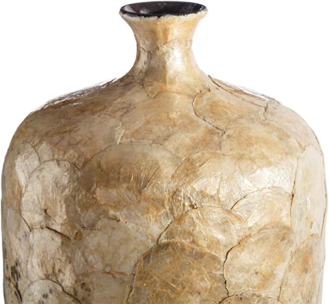 Jarrón tinaja de cerámica y nácar Beige Shabby Chic de ø 22x60 cm - LOLAhome: Amazon.es: Hogar