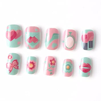 Candy Lives Children Fake Nails Pre Glue 20 Pcs Pink Blue Nail Tips Press On