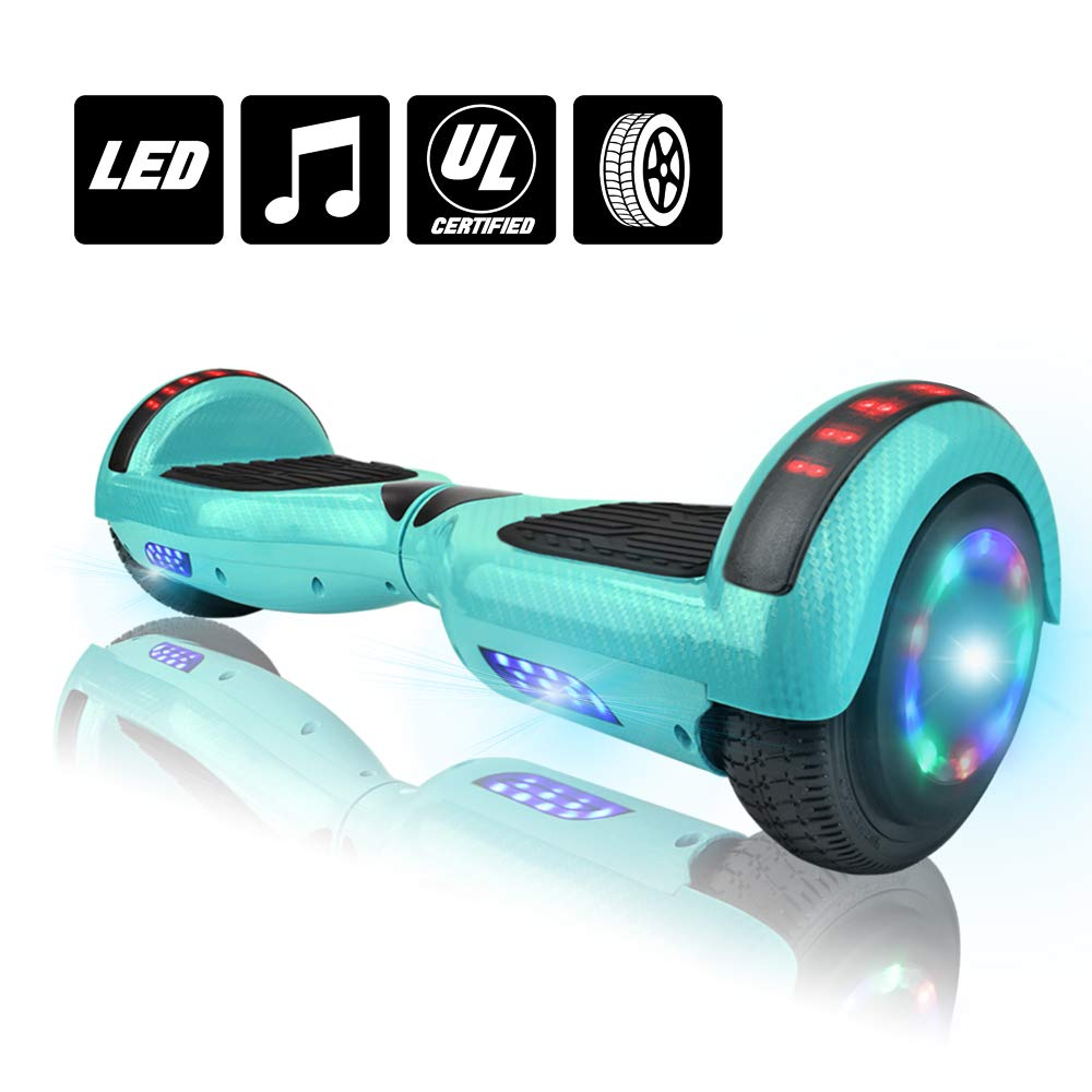 NHT Hoverboard 6.5'' Smart Self Balancing Electric Scooter Bluetooth Hover Board Flashing Lights UL2272 Certified (Carbon Fiber Blue) by NHT