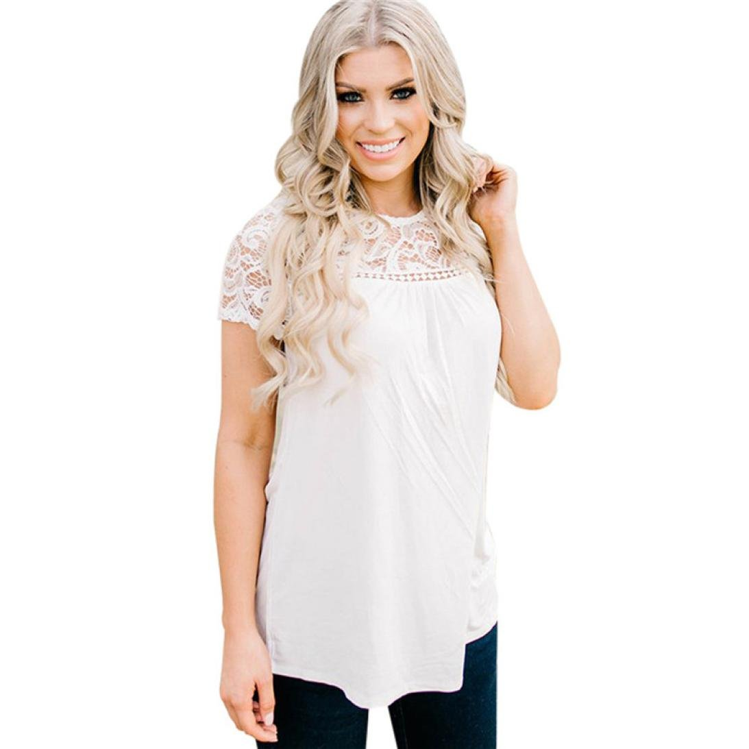 BCDshop Shirts Women Short Sleeve T-Shirt Casual Ladies Lace Hollow Solid Blouse Tops Soft (White, XL)