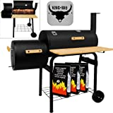 BBQ - Barbecue mobile - 2 surfaces de cuisson - 2 Roues - BBQ*KING - Jardin