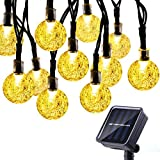 Icicle Waterproof 30 LED Crystal Solar Globe String Lights, Warm White, (20-Feet) ()