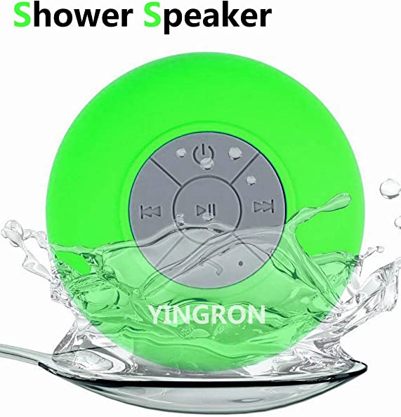 Waterproof Bluetooth Shower Speaker,Yingron Wireless Portable Speaker with Suction Cup Handsfree, Up to 4-Hour Playtime, Built-in Microphone for Calls for iPhone, iPod, iPad, Samsung Green
