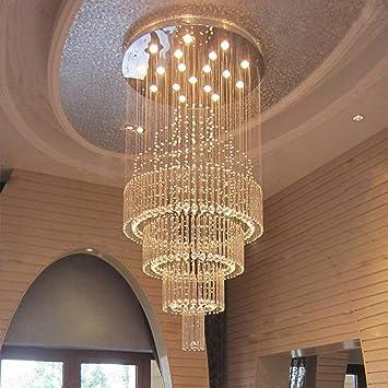 CZZ Ellie Chandelier - Piso Redondo, Duplex Villa Lounge Escalera Cristal Iluminación, Línea de