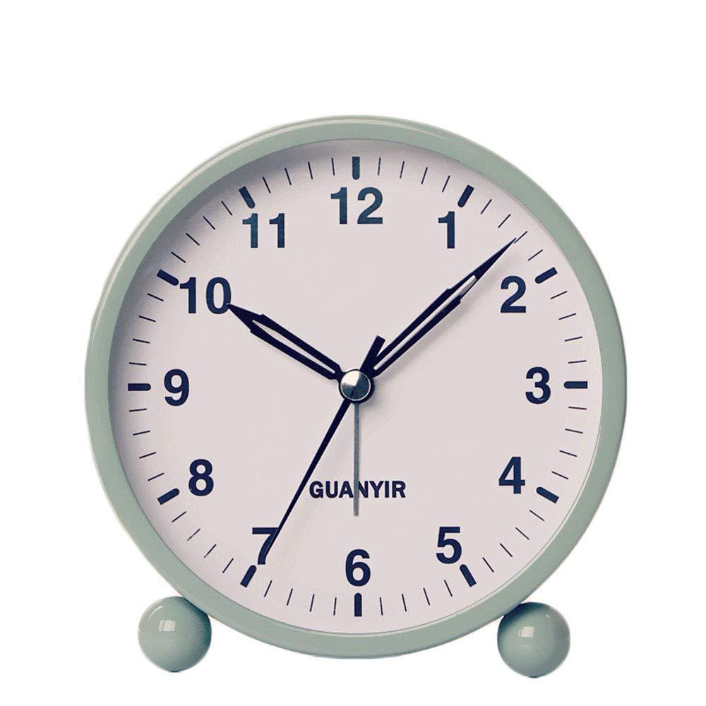pour la Chambre HZDHCLH R/éveil Matin Silencieux sans Tic-Tac /à Piles Beige en m/étal et Lumineux