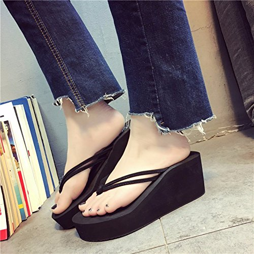 antideslizante zapatillas flips desgaste clip moda tacones XIAOGEGE mujer altos pie verano y negro sandalias q80xWwp