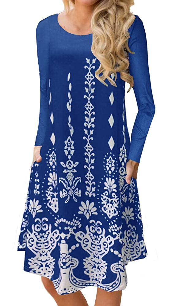 bluee BOCOTUBE Women's Casual Floral Print Long Sleeve Loose Swing Midi Dress with Pockets Black