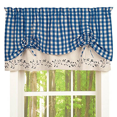 Gingham Checkered Berries Window Valance, Blue