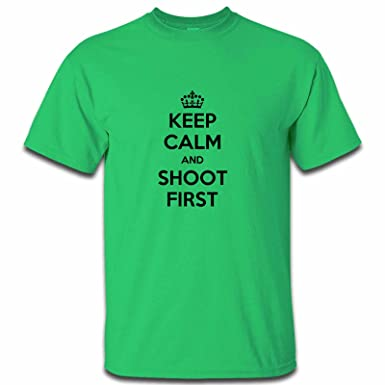 cfc010a94 Apparel Printing Keep Calm And Shoot First Mens Tshirt, Irish Green, Large:  Amazon.co.uk: Clothing