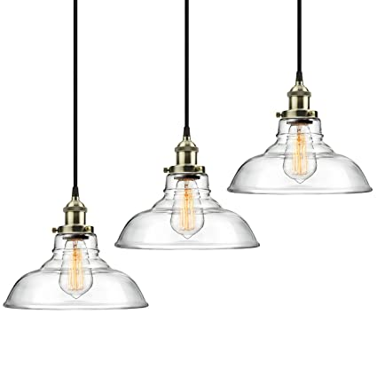 3-Pack Pendant Light Hanging Glass Ceiling Mounted Chandelier ...