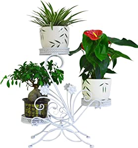 """AISHN 3-Tiered Scroll Classic Plant Stand Decorative Metal Garden Patio Standing Plant Flower Pot Rack Display Shelf Holds 3-Flower Pot with Modern""""S"""" Design (White)"""