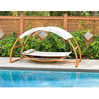 leisure season backyard swing bed with canopy garden outdoor. Black Bedroom Furniture Sets. Home Design Ideas