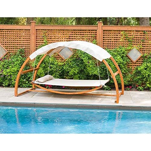 Leisure Season SBWC402 Swing Bed With Canopy - Brown - 1 Piece - 2-Person Covered Hammock With Wooden Stand - Outdoor Daybed, Furniture For Lawn, Patio, Poolside, Deck, Garden, Backyard - Adjustable