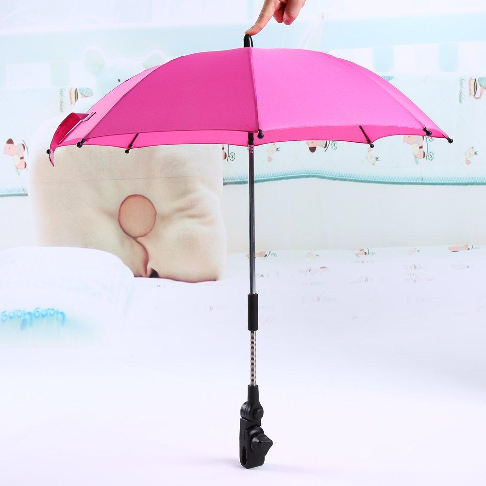 Stroller Umbrella Bicycle Wheelchair Pushchair Baby Umbrella holder Bracket Pram Swivel Connector Adjustable Length Angle Umbrella Stand Parasol UV Rays Rain Sun Canopy (Pink) Yosoo
