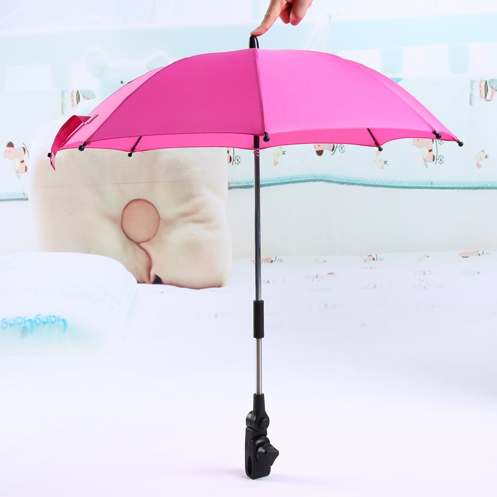 Yosoo Wheelchair Pushchair Baby Stroller Umbrella and Holder Parasol UV Rays Rain Sun Canopy£¨Pink£